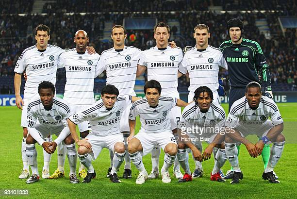 Chelsea team line up prior to the UEFA Champions League Group D match between FC Porto and Chelsea at the Estadio Do Dragao on November 25 2009 in...