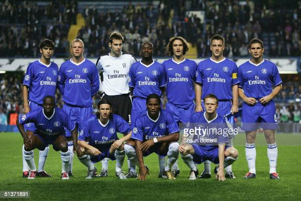 Chelsea team to face FC Porto prior to the UEFA Champions League Group H match between Chelsea and FC Porto at Stamford Bridge on September 29 2004...