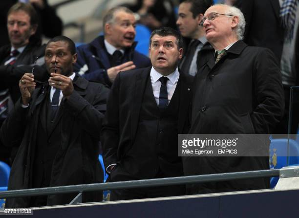 Chelsea technical director Michael Emenalo with chairman Bruce Buck and chief executive Ron Gourlay