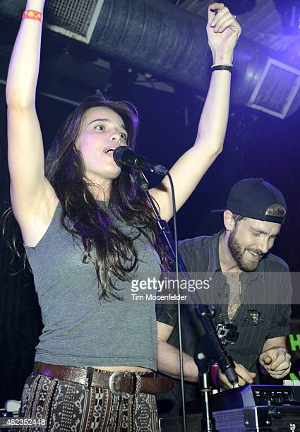 Chelsea Tyler and Jon Foster of Kaneholler perform during Popscene at The Rickshaw Stop on January 23 2015 in San Francisco California