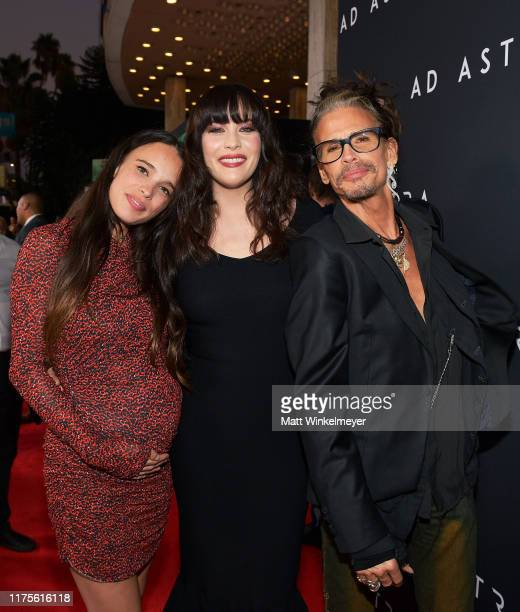 Chelsea Tyler Liv Tyler and Steven Tyler attend the premiere of 20th Century Fox's Ad Astra at The Cinerama Dome on September 18 2019 in Los Angeles...