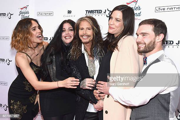 Chelsea Tyler Mia Tyler Steven Tyler Liv Tyler and Taj Tallarico attend the 'Steven TylerOut on a Limb' show to benefit Janie's Fund in collaboration...