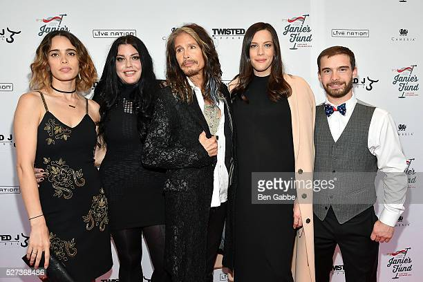Chelsea Tyler Mia Tyler Steven Tyler Liv Tyler and Taj Tallarico attend the Steven TylerOut On A Limb Benefit Concert on May 02 2016 in New York New...