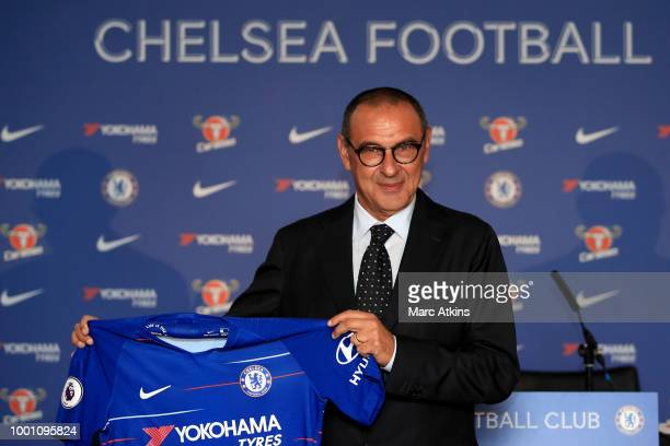 Chelsea manager Maurizio Sarri during a Press Conference at Stamford Bridge on July 18 2018 in London England
