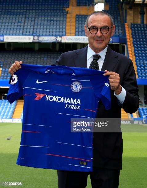 Chelsea Unveil New Head Coach Maurizio Sarri at Stamford Bridge on July 18 2018 in London England