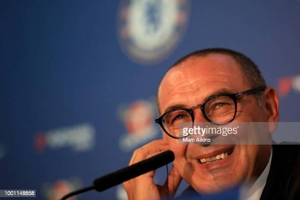 Chelsea Unveil New Head Coach Maurizio Sarri at Stamford Bridge on July 18, 2018 in London, England.