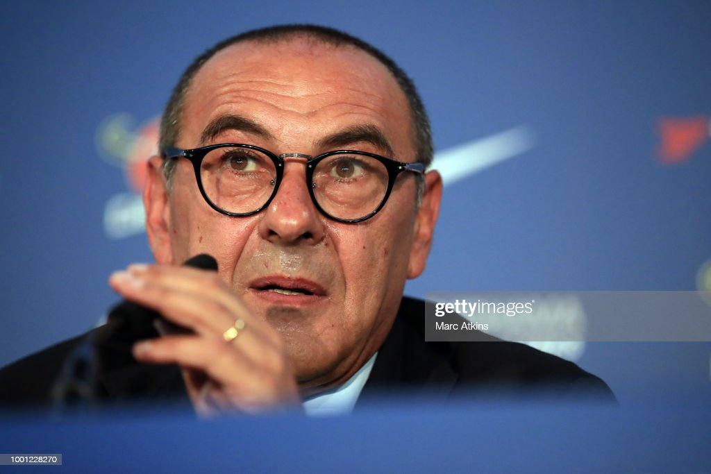 Chelsea Unveil New Head Coach Maurizio Sarri at Stamford Bridge on July 18, 2018 in London, England.