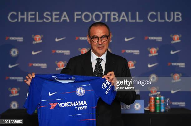 Maurizio Sarri manager of Chelsea during a press conference at Stamford Bridge Ground London on 18 July 2018
