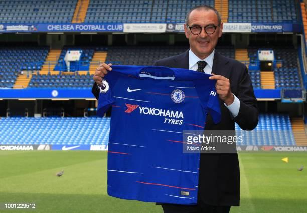 Chelsea Unveil New Head Coach Maurizio Sarri at Stamford Bridge on July 18 2018 in London England