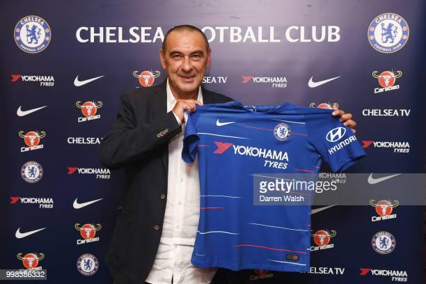 Chelsea Unveil New Head Coach Maurizio Sarri at Stamford Bridge on July 14 2018 in London England