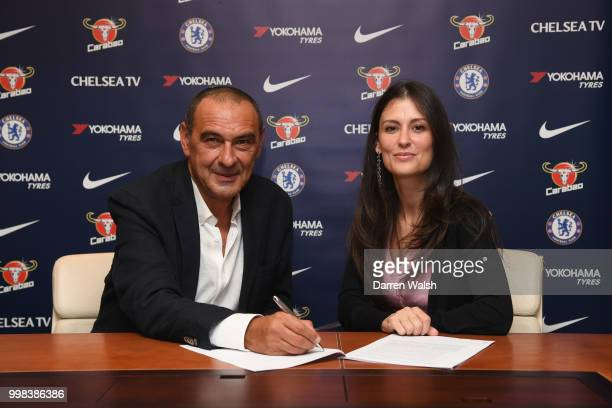 Chelsea Unveil New Head Coach Maurizio Sarri with Chelsea Director Marina Granovskaia at Stamford Bridge on July 14 2018 in London England