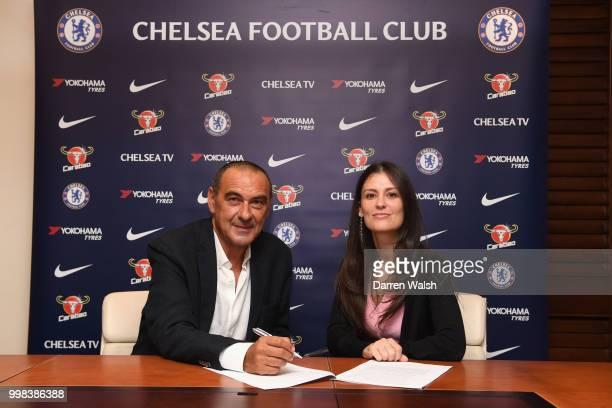 Chelsea Unveil New Head Coach Maurizio Sarri with Chelsea Director Marina Granovskaia at Stamford Bridge on July 14 2018 in London England