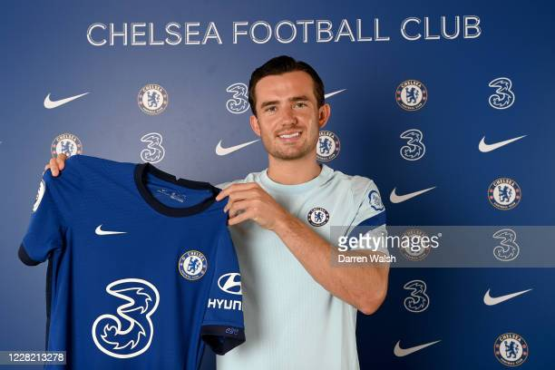 Chelsea Unveil new signing Ben Chilwell at Chelsea Training Ground on August 26, 2020 in Cobham, England.