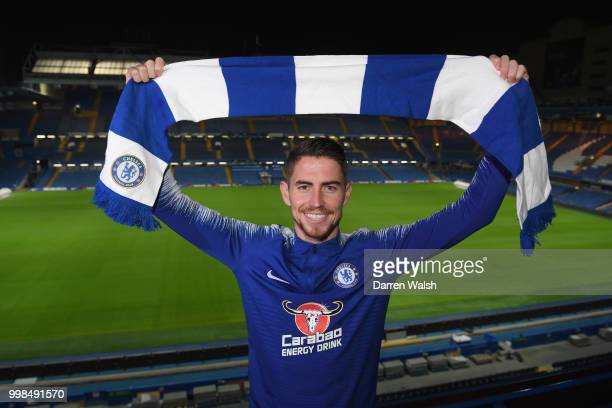 Chelsea Unveil New Signing Jorginho at Stamford Bridge on July 13 2018 in London England