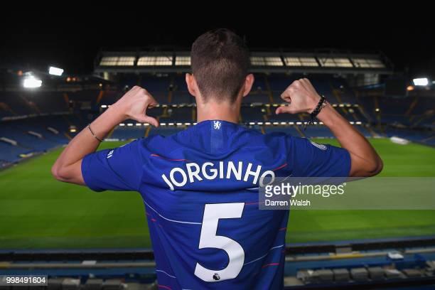 Chelsea Unveil New Signing Jorginho at Stamford Bridge on July 13 2018 in London England