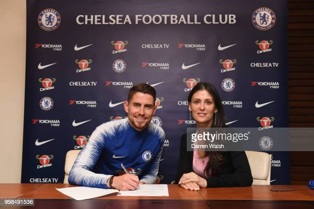 Chelsea Unveil New Signing Jorginho with Chelsea Director Marina Granovskaia at Stamford Bridge on July 13 2018 in London England