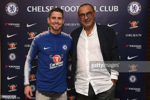 Chelsea Unveil New Signing Jorginho with Chelsea Head Coach Maurizio Sarri at Stamford Bridge on July 13 2018 in London England