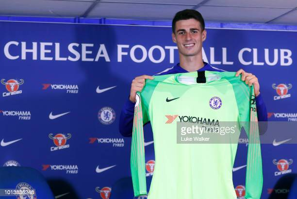 Chelsea unveil new signing Kepa Arrizabalaga at Stamford Bridge on August 9 2018 in London England