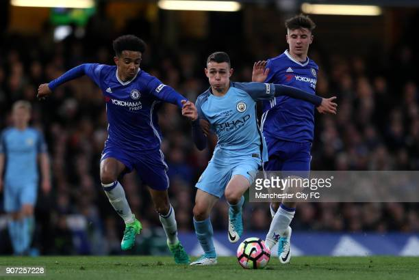 Chelsea v Manchester City FA Youth Cup Final Second Leg Stamford Bridge Chelsea's Jacob Maddox and Mason Mount Manchester City's Phil Foden battle...
