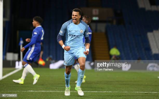 Chelsea v Manchester City FA Youth Cup Final Second Leg Stamford Bridge Manchester City's Lukas Nmecha celebrates scoring in the FA Youth Cup Final...