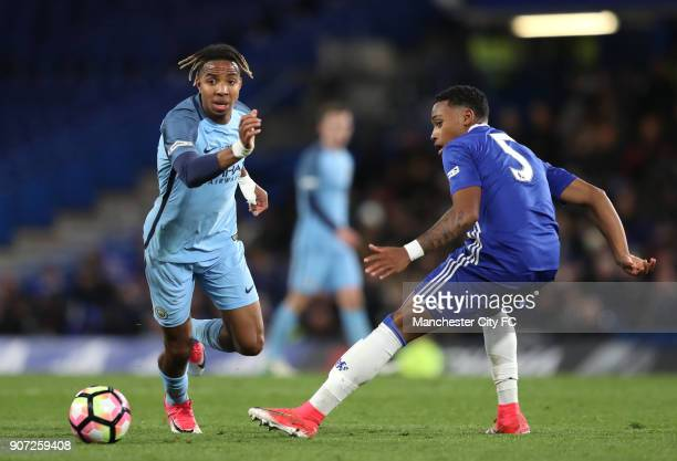 Chelsea v Manchester City FA Youth Cup Final Second Leg Stamford Bridge Manchester City's Demeaco Duhaney and Chelsea's Juan Castillo battle for the...
