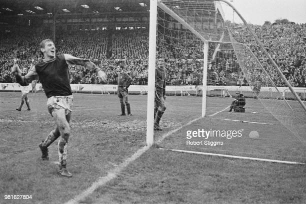 English soccer player Martin Peters of West Ham United FC scores first goal of the match at Stamford Bridge London UK 28th October 1967