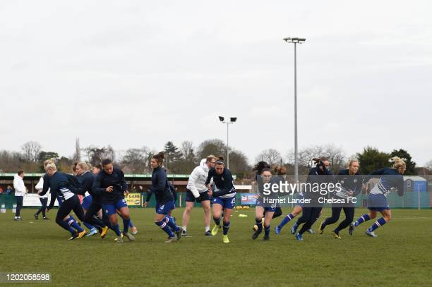 Chelsea warms up prior to the FA Cup 4th Round match between Charlton Athletic FC Women and Chelsea FC Women at VCD Stadium on January 26 2020 in...
