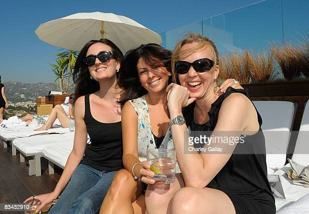 Chelsea Wilmeth Jenna Abrams and Jackie Bacich attend the GQ Splash Poolside Party at the Thompson Hotel on October 25 2008 in Los Angeles California