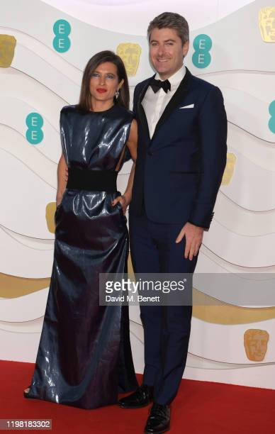 Chelsea Winstanley and Carthew Neal arrive at the EE British Academy Film Awards 2020 at Royal Albert Hall on February 2 2020 in London England
