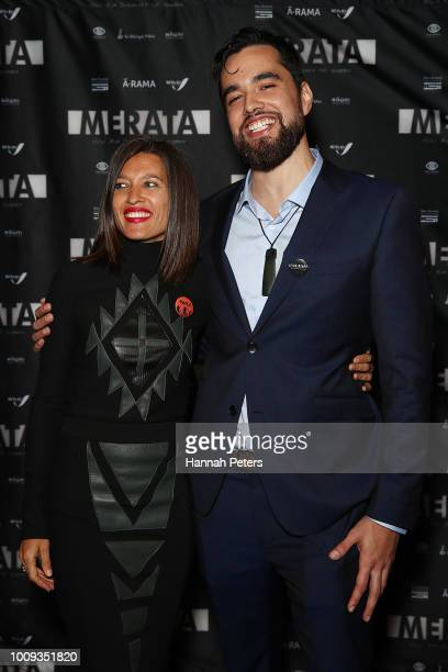 Chelsea Winstanley and Hepi Mita attend the world premiere of Merata How Mum Decolonised the Screen at ASB Waterfront Theatre on August 2 2018 in...