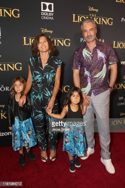 Chelsea Winstanley and Taika Waititi attend the World Premiere of Disney's THE LION KING at the Dolby Theatre on July 09 2019 in Hollywood California