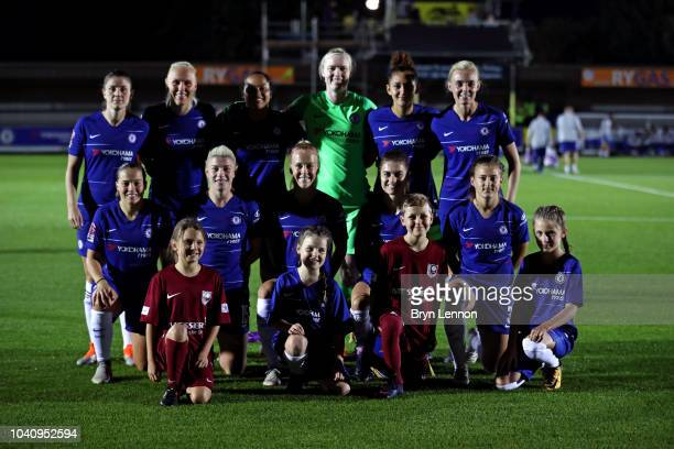 Chelsea Women pose for a team photo ahead of the UEFA Women's Champions League Round of 32 2nd Leg match between Chelsea Women and Sarajevo Women at...