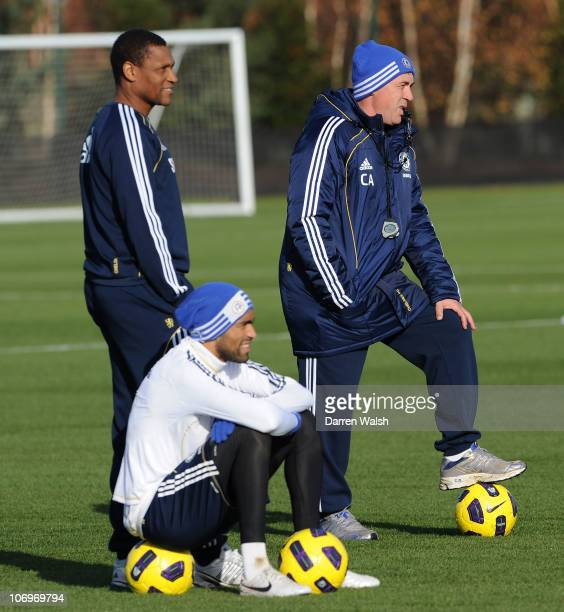 Chelsea's 1st team coach Carlo Ancelotti and 1st team assistant coach Michael Emenalo during a training session at the Cobham training ground on...