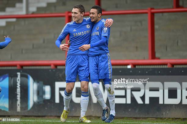Chelsea's Alex Kiwomya celebrates his 1st and Chelsea's 2nd goal with Andreas Christensen during a NextGen series quarter final match between Chelsea...