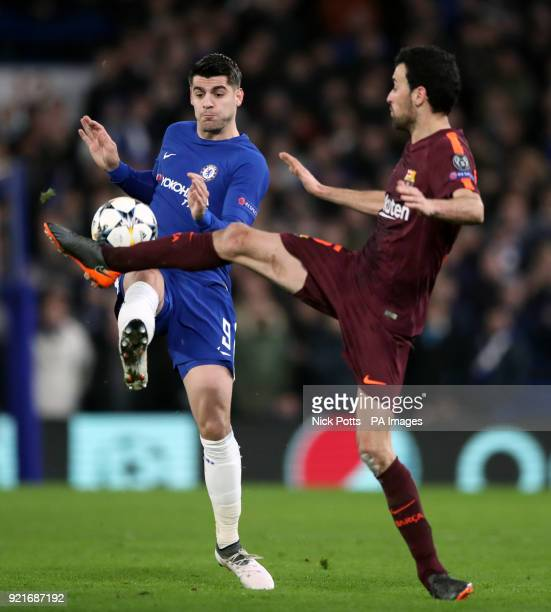 Chelsea's Alvaro Morata and Barcelona's Sergio Busquets battle for the ball during the UEFA Champions League round of sixteen first leg match at...