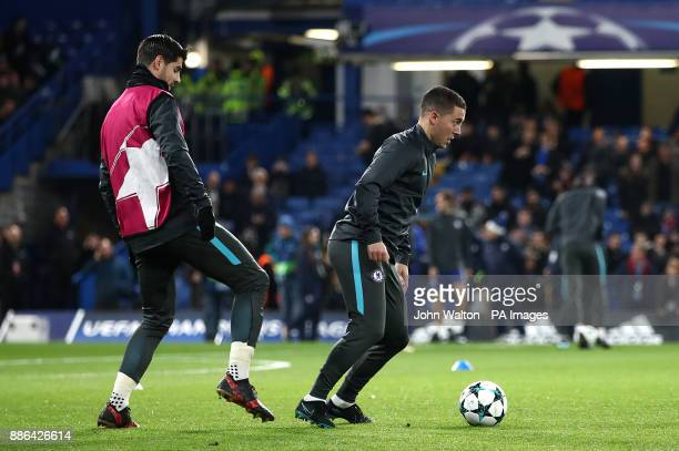 Chelsea's Alvaro Morata and Chelsea's Eden Hazard warming up before the UEFA Champions League match at Stamford Bridge London