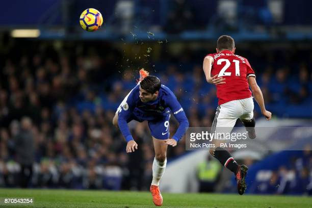 Chelsea's Alvaro Morata and Manchester United's Ander Herrera battle for the ball during the Premier League match at Stamford Bridge London
