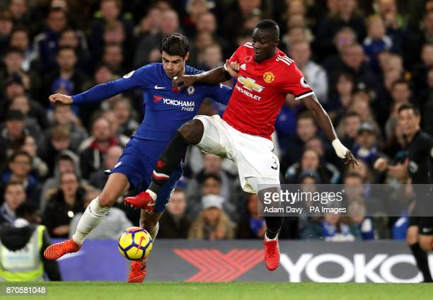 Chelsea's Alvaro Morata and Manchester United's Eric Bailly battle for the ball during the Premier League match at Stamford Bridge London