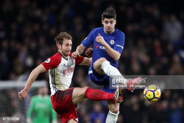 Chelsea's Alvaro Morata and West Bromwich Albion's Craig Dawson battle for the ball during the Premier League match at Stamford Bridge London