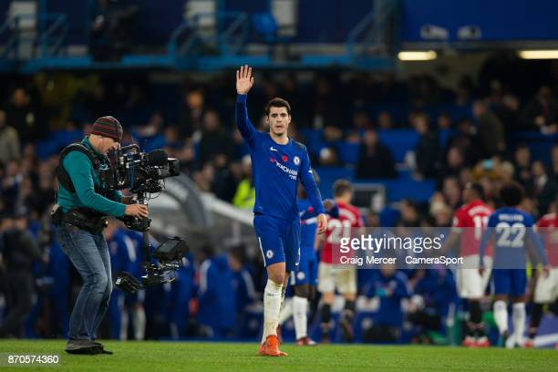 Chelsea's Alvaro Morata celebrates at full time during the Premier League match between Chelsea and Manchester United at Stamford Bridge on November...