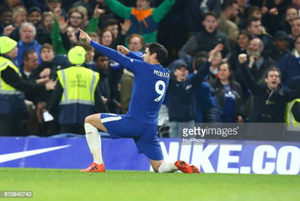 Chelsea's Alvaro Morata celebrates his goal during the Premier League match between Chelsea and Manchester United at Stamford Bridge London England...