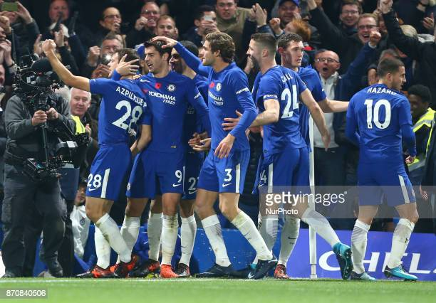 Chelsea's Alvaro Morata celebrates scoring his sides first goal during the Premier League match between Chelsea and Manchester United at Stamford...