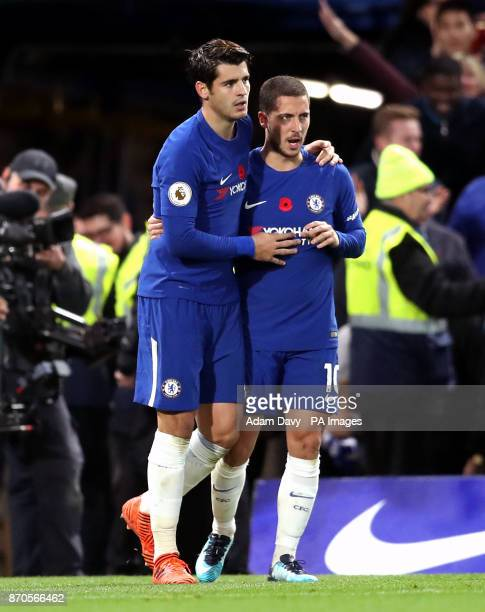 Chelsea's Alvaro Morata celebrates scoring his side's first goal of the game with Eden Hazard during the Premier League match at Stamford Bridge...