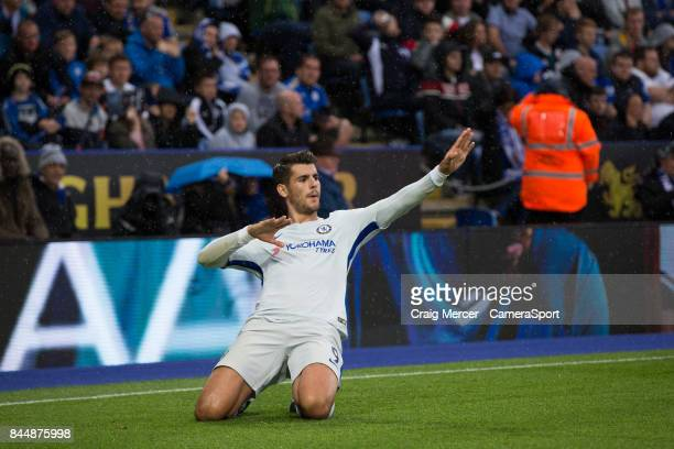 Chelsea's Alvaro Morata celebrates scoring the opening goal during the Premier League match between Leicester City and Chelsea at The King Power...