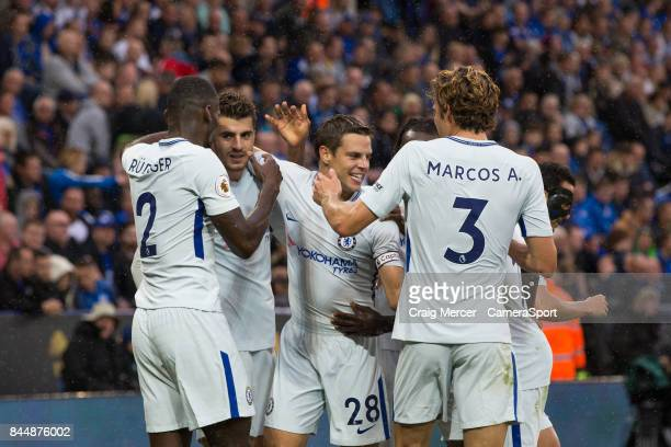 Chelsea's Alvaro Morata celebrates with team mates after scoring the opening goal during the Premier League match between Leicester City and Chelsea...
