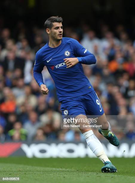 Chelsea's Alvaro Morata during the Premier League match between Chelsea and Arsenal at Stamford Bridge on September 17 2017 in London England