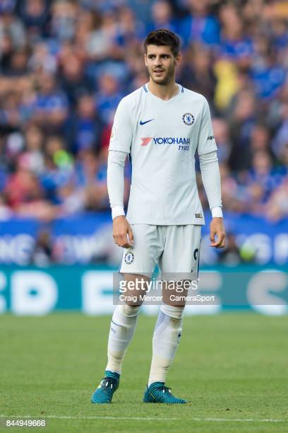 Chelsea's Alvaro Morata during the Premier League match between Leicester City and Chelsea at The King Power Stadium on September 9 2017 in Leicester...