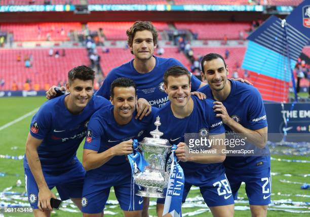 Chelsea's Alvaro Morata Pedro Marcos Alonso Cesar Azpilicueta and Davide Zappacosta with the trophy during the Emirates FA Cup Final match between...