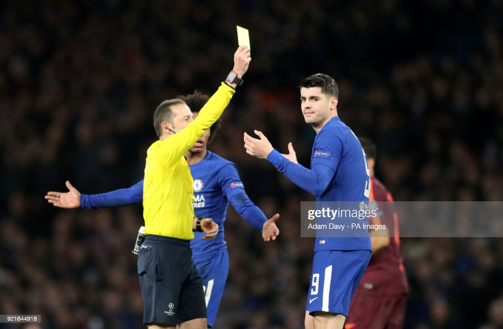 Chelsea's Alvaro Morata receives a yellow card during the UEFA Champions League round of sixteen, first leg match at Stamford Bridge, London.
