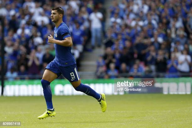 Chelsea's Alvaro Morata runs onto the field during the English FA Community Shield football match between Arsenal and Chelsea at Wembley Stadium in...